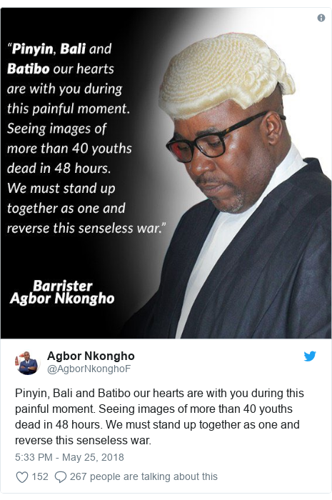 Twitter post by @AgborNkonghoF: Pinyin, Bali and Batibo our hearts are with you during this painful moment. Seeing images of more than 40 youths dead in 48 hours. We must stand up together as one and reverse this senseless war.