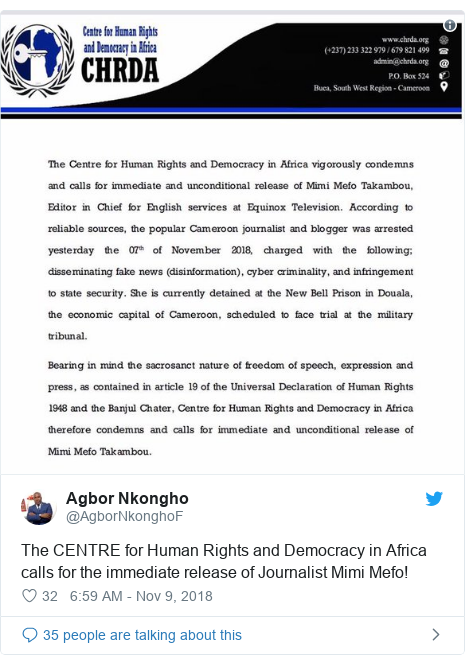 Twitter post by @AgborNkonghoF: The CENTRE for Human Rights and Democracy in Africa calls for the immediate release of Journalist Mimi Mefo!