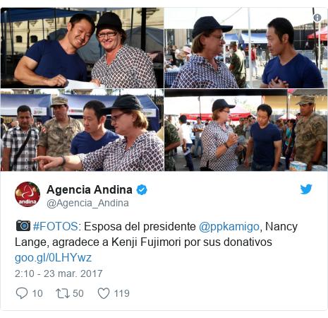 Publicación de Twitter por @Agencia_Andina: 📷 #FOTOS  Esposa del presidente @ppkamigo, Nancy Lange, agradece a Kenji Fujimori por sus donativos