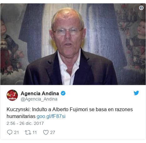 Publicación de Twitter por @Agencia_Andina: Kuczynski  Indulto a Alberto Fujimori se basa en razones humanitarias