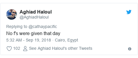 Twitter post by @AghiadHaloul: No f's were given that day