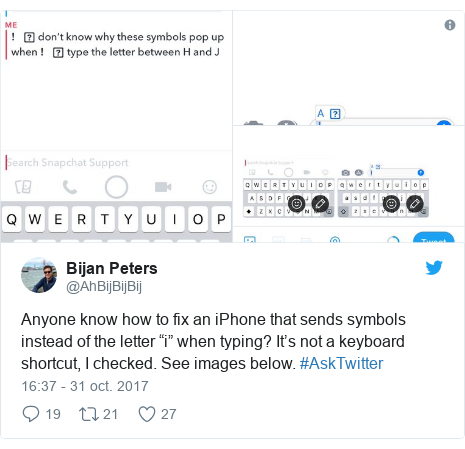 "Publicación de Twitter por @AhBijBijBij: Anyone know how to fix an iPhone that sends symbols instead of the letter ""i"" when typing? It's not a keyboard shortcut, I️ checked. See images below. #AskTwitter"