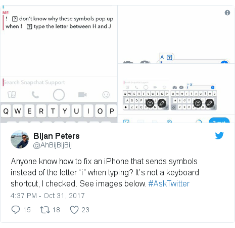 "Twitter post by @AhBijBijBij: Anyone know how to fix an iPhone that sends symbols instead of the letter ""i"" when typing? It's not a keyboard shortcut, I️ checked. See images below. #AskTwitter"