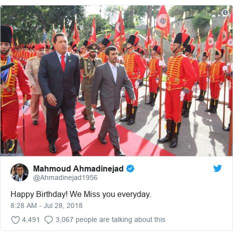 Twitter post by @Ahmadinejad1956: Happy Birthday! We Miss you everyday.