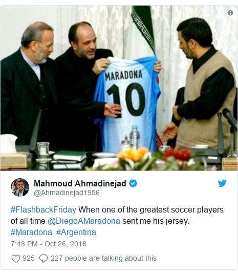 Twitter post by @Ahmadinejad1956: #FlashbackFriday When one of the greatest soccer players of all time @DiegoAMaradona sent me his jersey. #Maradona  #Argentina