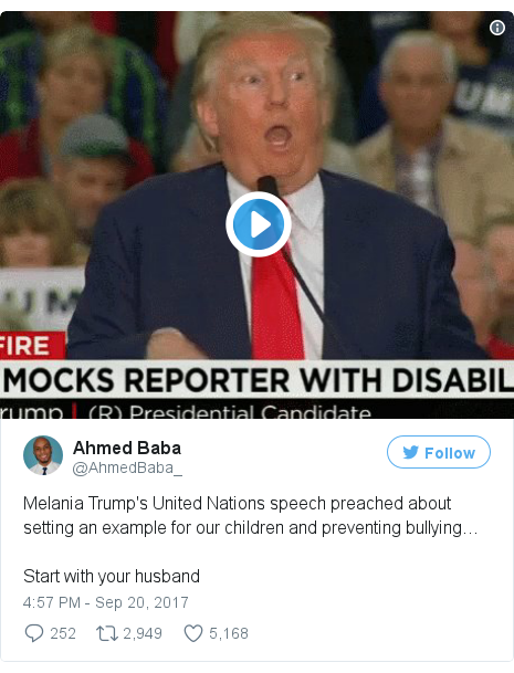 Twitter post by @AhmedBaba_: Melania Trump's United Nations speech preached about setting an example for our children and preventing bullying…Start with your husband pic.twitter.com/Lq3u2eGoic