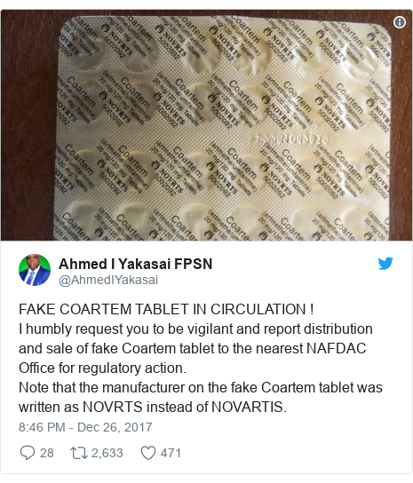 Twitter post by @AhmedIYakasai: FAKE COARTEM TABLET IN CIRCULATION !I humbly request you to be vigilant and report distribution and sale  of fake Coartem tablet to the nearest NAFDAC Office for regulatory action.Note that the manufacturer on the fake Coartem tablet was written as NOVRTS instead of NOVARTIS.