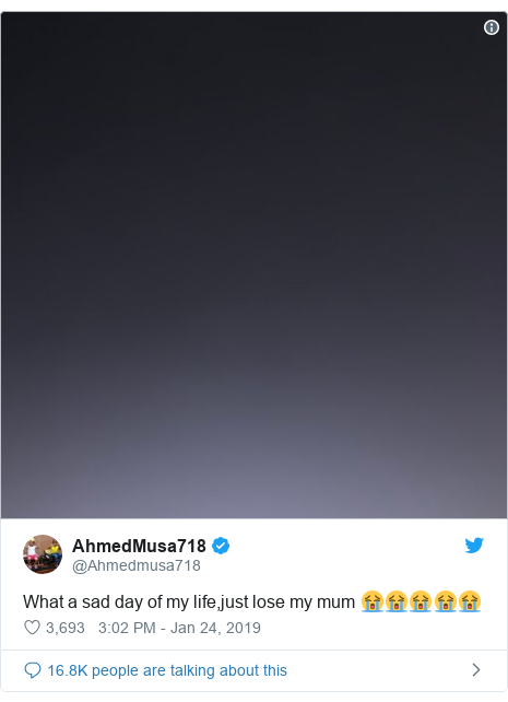 Twitter post by @Ahmedmusa718: What a sad day of my life,just lose my mum 😭😭😭😭😭