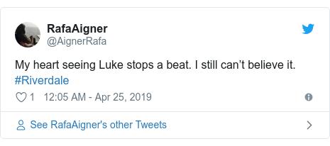 Twitter post by @AignerRafa: My heart seeing Luke stops a beat. I still can't believe it. #Riverdale
