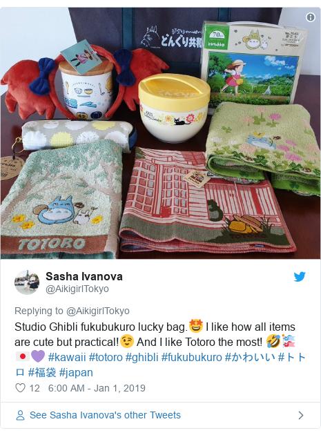 Twitter post by @AikigirlTokyo: Studio Ghibli fukubukuro lucky bag.🤩 I like how all items are cute but practical!😉 And I like Totoro the most! 🤣🎏🇯🇵💜 #kawaii #totoro #ghibli #fukubukuro #かわいい #トトロ #福袋 #japan