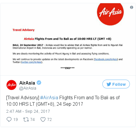 Twitter post by @AirAsia: [Travel Advisory] #AirAsia Flights From and To Bali as of 10 00 HRS LT (GMT+8), 24 Sep 2017 pic.twitter.com/CuqZZN0H2G