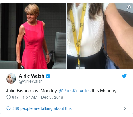 Twitter post by @AirlieWalsh: Julie Bishop last Monday. @PatsKarvelas this Monday.