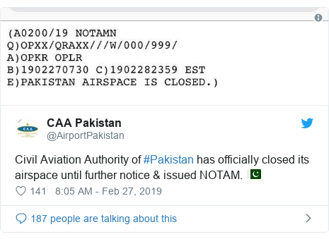 Twitter හි @AirportPakistan කළ පළකිරීම: Civil Aviation Authority of #Pakistan has officially closed its airspace until further notice & issued NOTAM. 🇵🇰