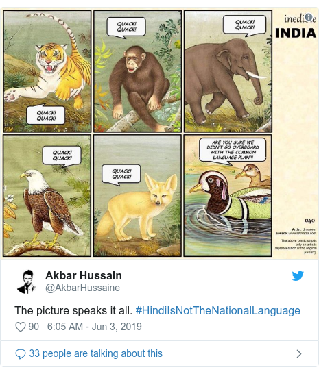 Twitter post by @AkbarHussaine: The picture speaks it all. #HindiIsNotTheNationalLanguage
