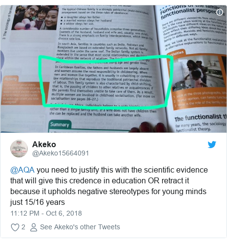 Twitter post by @Akeko15664091: @AQA you need to justify this with the scientific evidence that will give this credence in education OR retract it because it upholds negative stereotypes for young minds just 15/16 years
