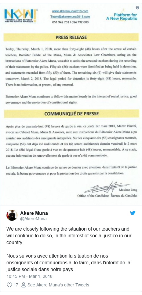 Twitter post by @AkereMuna: We are closely following the situation of our teachers and will continue to do so, in the interest of social justice in our country.Nous suivons avec attention la situation de nos enseignants et continuerons à  le faire, dans l'intérêt de la justice sociale dans notre pays.