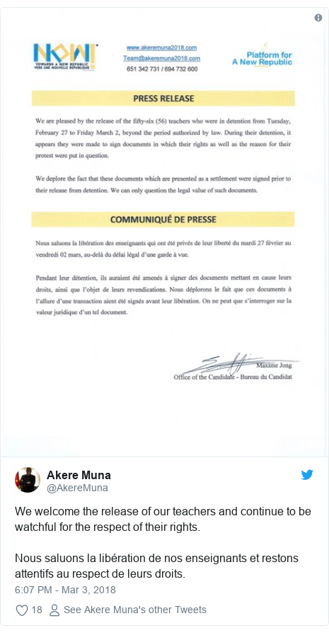 Twitter post by @AkereMuna: We welcome the release of our teachers and continue to be watchful for the respect of their rights. Nous saluons la libération de nos enseignants et restons attentifs au respect de leurs droits.