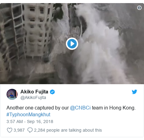 Twitter post by @AkikoFujita: Another one captured by our @CNBCi team in Hong Kong. #TyphoonMangkhut