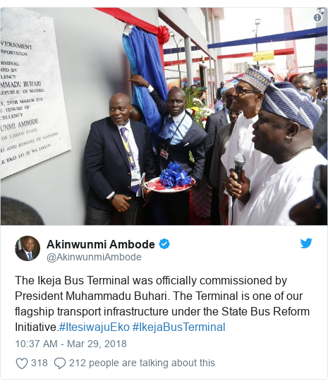 Twitter post by @AkinwunmiAmbode: The Ikeja Bus Terminal was officially commissioned by President Muhammadu Buhari. The Terminal is one of our flagship transport infrastructure under the State Bus Reform Initiative.#ItesiwajuEko #IkejaBusTerminal