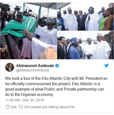 Twitter post by @AkinwunmiAmbode: We took a tour of the Eko Atlantic City with Mr. President as he officially commissioned the project. Eko Atlantic is a good example of what Public and Private partnership can do to the Nigerian economy.