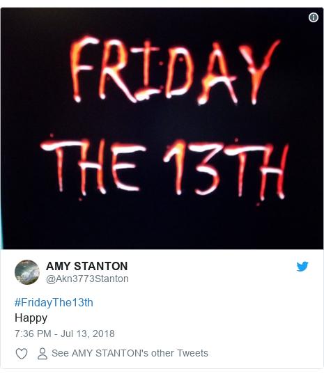 Twitter post by @Akn3773Stanton: #FridayThe13thHappy