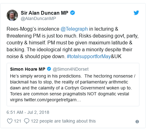 Twitter post by @AlanDuncanMP: Rees-Mogg's insolence @Telegraph in lecturing & threatening PM is just too much. Risks debasing govt, party, country & himself. PM must be given maximum latitude & backing. The ideological right are a minority despite their noise & should pipe down. #totalsupportforMay&UK