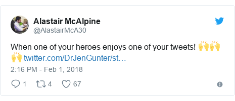 Twitter post by @AlastairMcA30: When one of your heroes enjoys one of your tweets! 🙌🙌🙌