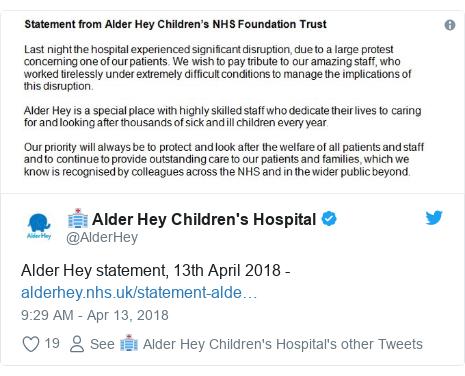 Twitter post by @AlderHey: Alder Hey statement, 13th April 2018 -