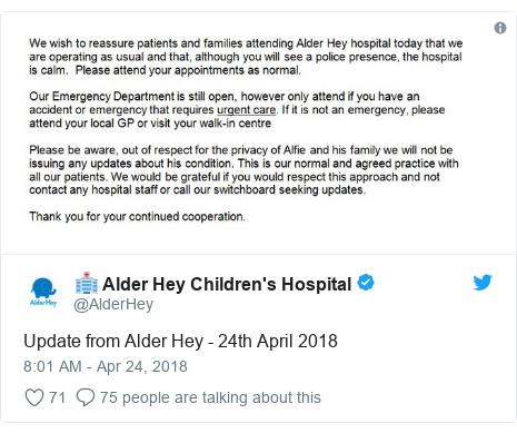 Twitter post by @AlderHey: Update from Alder Hey - 24th April 2018
