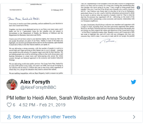 Twitter post by @AlexForsythBBC: PM letter to Heidi Allen, Sarah Wollaston and Anna Soubry
