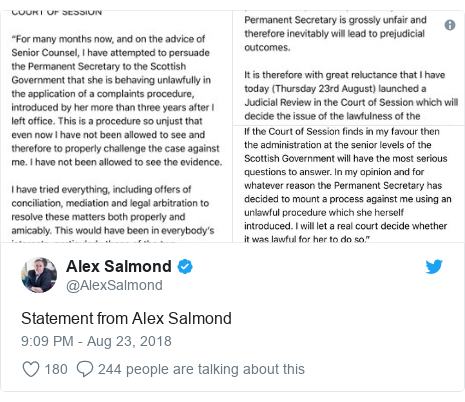 Twitter post by @AlexSalmond: Statement from Alex Salmond
