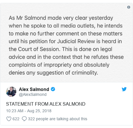 Twitter post by @AlexSalmond: STATEMENT FROM ALEX SALMOND