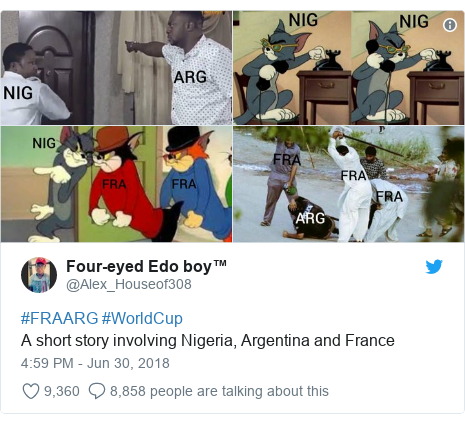 Twitter post by @Alex_Houseof308: #FRAARG #WorldCupA short story involving Nigeria, Argentina and France
