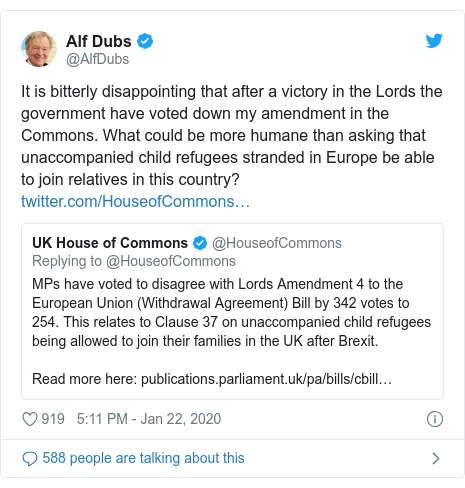 Twitter post by @AlfDubs: It is bitterly disappointing that after a victory in the Lords the government have voted down my amendment in the Commons. What could be more humane than asking that unaccompanied child refugees stranded in Europe be able to join relatives in this country?