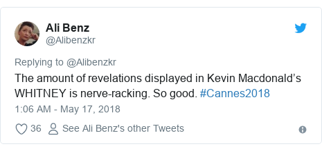 Twitter post by @Alibenzkr: The amount of revelations displayed in Kevin Macdonald's WHITNEY is nerve-racking. So good. #Cannes2018