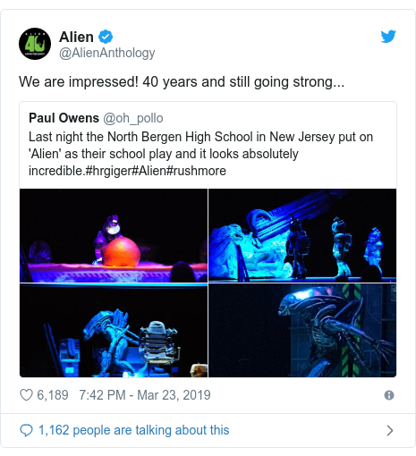 Twitter post by @AlienAnthology: We are impressed! 40 years and still going strong...