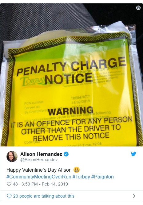 Twitter post by @AlisonHernandez: Happy Valentine's Day Alison 😬#CommunityMeetingOverRun #Torbay #Paignton
