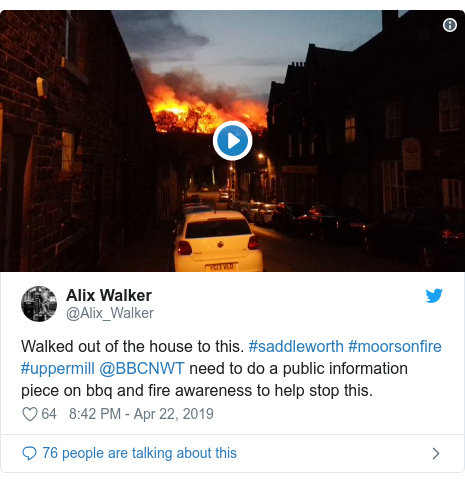 Twitter post by @Alix_Walker: Walked out of the house to this. #saddleworth #moorsonfire #uppermill @BBCNWT need to do a public information piece on bbq and fire awareness to help stop this.