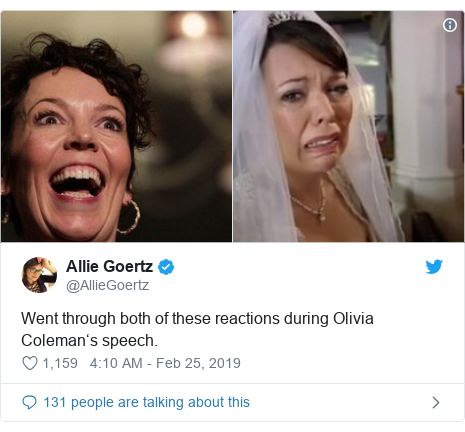 Twitter post by @AllieGoertz: Went through both of these reactions during Olivia Coleman's speech.