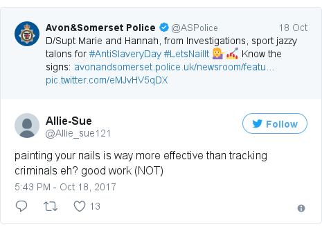 Twitter post by @Allie_sue121: painting your nails is way more effective than tracking criminals eh?  good work (NOT)