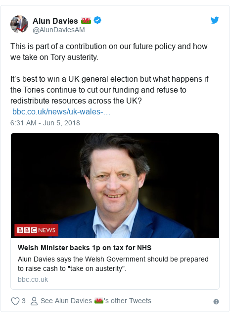 Twitter post by @AlunDaviesAM: This is part of a contribution on our future policy and how we take on Tory austerity. It's best to win a UK general election but what happens if the Tories continue to cut our funding and refuse to redistribute resources across the UK?