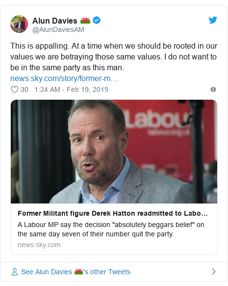 Twitter post by @AlunDaviesAM: This is appalling. At a time when we should be rooted in our values we are betraying those same values. I do not want to be in the same party as this man.