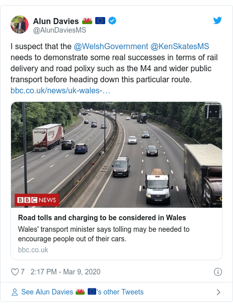 Twitter post by @AlunDaviesMS: I suspect that the ⁦@WelshGovernment⁩ ⁦@KenSkatesMS⁩ needs to demonstrate some real successes in terms of rail delivery and road polixy such as the M4 and wider public transport before heading down this particular route.