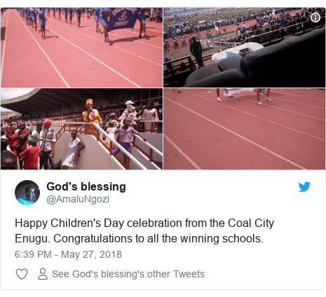 Twitter post by @AmaluNgozi: Happy Children's Day celebration from the Coal City Enugu. Congratulations to all the winning schools.