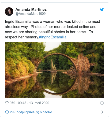 Twitter post by @AmandaMarti1009: Ingrid Escamilla was a woman who was killed in the most atrocious way.  Photos of her murder leaked online and now we are sharing beautiful photos in her name.  To respect her memory.#IngridEscamilla