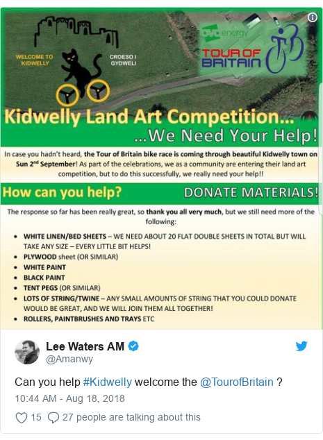 Twitter post by @Amanwy: Can you help #Kidwelly welcome the @TourofBritain ?