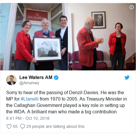 Twitter post by @Amanwy: Sorry to hear of the passing of Denzil Davies. He was the MP for #Llanelli from 1970 to 2005. As Treasury Minister in the Callaghan Government played a key role in setting up the WDA. A brilliant man who made a big contribution