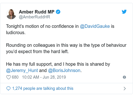 Twitter post by @AmberRuddHR: Tonight's motion of no confidence in @DavidGauke is ludicrous. Rounding on colleagues in this way is the type of behaviour you'd expect from the hard left.He has my full support, and I hope this is shared by @Jeremy_Hunt and @BorisJohnson.
