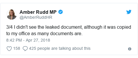 Twitter post by @AmberRuddHR: 3/4 I didn't see the leaked document, although it was copied to my office as many documents are.