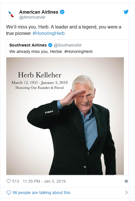 Twitter post by @AmericanAir: We'll miss you, Herb. A leader and a legend, you were a true pioneer. #HonoringHerb